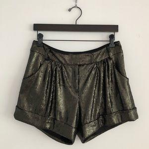 Diane von Furstenberg, Olive Sequin Cuffed Shorts